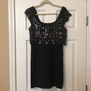 Charcoal grey mini dress with sequins